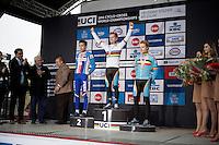 U23 men's podium:<br /> 1/ Eli Iserbyt (BEL)<br /> 2/ Adam Toupalic (CZE)<br /> 3/ Quinten Hermans (BEL)<br /> <br /> UCI 2016 cyclocross World Championships / Zolder, Belgium