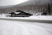Crawford Notch State Park during the winter months in the  White Mountains, New Hampshire