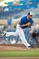 Durham Bulls starting pitcher Brendan McKay (33) follows through on his delivery against the Louisville Bats at Durham Bulls Athletic Park on May 28, 2019 in Durham, North Carolina. The Bulls defeated the Bats 18-3. (Brian Westerholt/Four Seam Images)