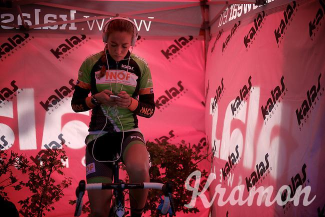 Sophie de Boer (NLD) warming up on the rollers<br /> <br /> Koppenbergcross 2014