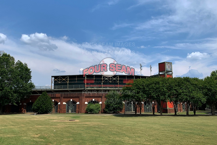 General view of Golden Park Baseball Stadium in Columbus, Georgia on June 21, 2020.  Golden Park was opened in 1951 and hosted teams from the Southern League and South Atlantic Leagues including the Columbus Cardinals, Columbus Confederate Yankees, Columbus Indians, Columbus RedStixx, South Georgia Waves, and Columbus Catfish.  The stadium also hosted the Columbus Wood Bats of the Great South Collegiate Summer League.  (Mike Janes/Four Seam Images)