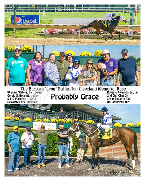 Probably Grace winning at Delaware Park on 10/2/21