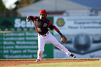 Batavia Muckdogs shortstop Samuel Castro (25) throws to first base during a game against the West Virginia Black Bears on June 29, 2016 at Dwyer Stadium in Batavia, New York.  West Virginia defeated Batavia 9-4.  (Mike Janes/Four Seam Images)