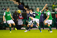 15th November 2020; Easter Road, Edinburgh, Scotland; Scottish League Cup Football, Hibernian versus Dundee FC; Danny Mullen of Dundee challenges for the ball with Josh Doig of Hibernian