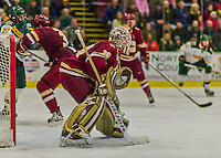 20 February 2016: Boston College Eagle Goaltender Thatcher Demko, a Junior from San Diego, CA, in action during the second period against the University of Vermont Catamounts at Gutterson Fieldhouse in Burlington, Vermont. The Eagles defeated the Catamounts 4-1 in the second game of their weekend series. Mandatory Credit: Ed Wolfstein Photo *** RAW (NEF) Image File Available ***