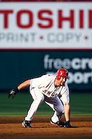 Casey Kotchman of the Los Angeles Angels during a 2007 MLB season game at Angel Stadium in Anaheim, California. (Larry Goren/Four Seam Images)
