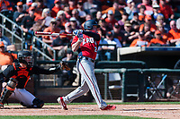 Gonzaga Bulldogs right fielder Troy Johnston (21) follows through on his swing during a game against the Oregon State Beavers on February 16, 2019 at Surprise Stadium in Surprise, Arizona. Oregon State defeated Gonzaga 9-3. (Zachary Lucy/Four Seam Images)