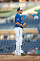 Durham Bulls starting pitcher Brendan McKay (33) looks to his catcher for the sign against the Louisville Bats at Durham Bulls Athletic Park on May 28, 2019 in Durham, North Carolina. The Bulls defeated the Bats 18-3. (Brian Westerholt/Four Seam Images)