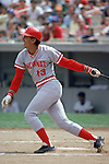 UNDATED:  Dave Concepcion #13 of the Cincinnati Reds watches the flight of the ball as he heads to first base during a game. Concepcion played for the Reds from 1970-1988.  (Photo by Rich Pilling)