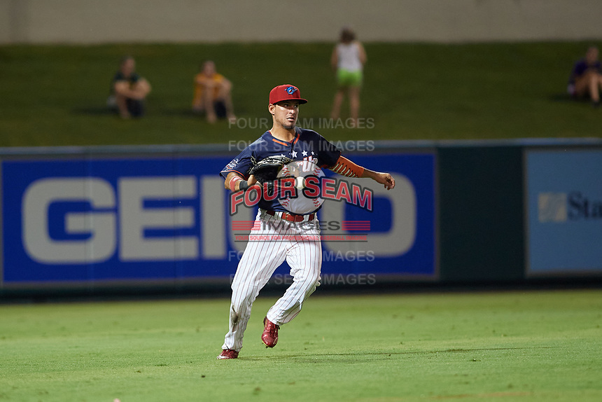 Clearwater Threshers left fielder Herlis Rodriguez (1) fields a ball during the Florida State League All-Star Game on June 17, 2017 at Joker Marchant Stadium in Lakeland, Florida.  FSL North All-Stars defeated the FSL South All-Stars  5-2.  (Mike Janes/Four Seam Images)