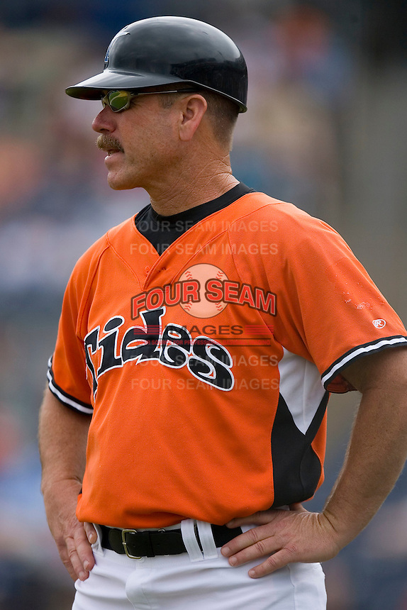 Norfolk Tides manager Gary Allenson #6 in the third base coaches box at Harbor Park June 7, 2009 in Norfolk, Virginia. (Photo by Brian Westerholt / Four Seam Images)