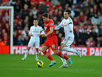 Saturday 10 November 2012<br /> Pictured L-R: Gaston Ramirez of Southampton challenged by Michu of Swansea. <br /> Re: Barclay's Premier League, Southampton FC v Swansea City FC at St Mary's Stadium, Southampton, UK.