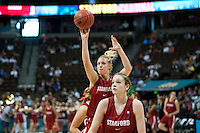 DENVER, CO--Taylor Greenfield works on her shot during a team open practice session at the Pepsi Center for the 2012 NCAA Women's Final Four festivities in Denver, CO.