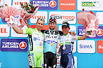 Mark Cavendish (GBR) Etixx-Quick Step wins Stage 1 of the 2015 Presidential Tour of Turkey with Caleb Ewan (AUS) Orica GreenEdge in 2nd place and Nicola Ruffoni (ITA) Bardiani CSF in 3rd, running 182km from Alanya to Alanya. 26th April 2015.<br /> Photo: Tour of Turkey/Stiehl Photography/Mario Stiehl/www.newsfile.ie