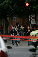 Montreal (Qc) CANADA, September 13  File Photo<br /> <br /> Police and student around Dawson college <br /> <br /> Dawson College shooting occurred on September 13, 2006 at Dawson College, a CEGEP in Westmount near downtown Montreal, Quebec, Canada. The perpetrator, Kimveer Gill, began shooting outside the de Maisonneuve Boulevard entrance to the school, and moved towards the atrium by the cafeteria on the main floor. One victim died at the scene, while another 19 were injured,
