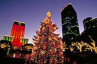 City; office buildings; City Hall; Christmas; tree; decorations. Houston Texas.