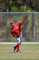 Washington Nationals Juan Soto (25) throws from the outfield during practice before a minor league Spring Training game against the St. Louis Cardinals on March 27, 2017 at the Roger Dean Stadium Complex in Jupiter, Florida.  (Mike Janes/Four Seam Images)