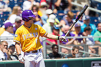 LSU Tigers shortstop Alex Bregman (8) on deck during the NCAA College baseball World Series against the Cal State Fullerton on June 16, 2015 at TD Ameritrade Park in Omaha, Nebraska. LSU defeated Fullerton 5-3. (Andrew Woolley/Four Seam Images)