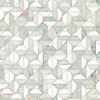 Zachary, a hand-cut stone mosaic, shown in polished Cloud Nine, White Onyx, and Ming Green, is part of the Semplice® collection for New Ravenna.