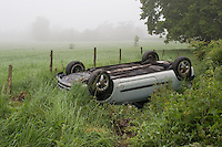 RTC involving a car that has overturned and rolled onto its roof. .©shoutpictures.com..john@shoutpictures.com
