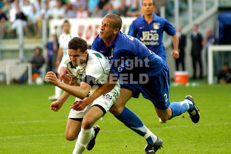 voetbal fc groningen nec play off eredivisie seizoen 2007-2008 11-05-2008  olsson met berg..fotograaf Jan Kanning.. ..