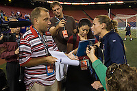 United States (USA) defender Christie Rampone (3) is interviewed by the media after the game. The women's national team of the United States (USA) defeated the Republic of Ireland (IRL) 1-0 during an international friendly at Giants Stadium in East Rutherford, NJ on September 17, 2008. Photo by Howard C. Smith/isiphotos.com