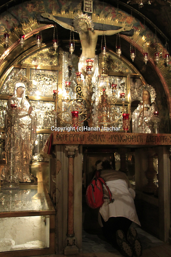 Israel, Jerusalem Old City, Golgotha, Calvary,  the Twelfth Station of the Via Dolorosa at the Church of the Holy Sepulchre