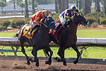 CERRITOS, CA  JULY 14:   #4 Once On Whiskey, ridden by Flavien Prat, and #1 Draft Pick, ridden by Joseph Talamo, in the stretch of the Los Alamitos Derby (Grade lll)  on July 14, 2018, at Los Alamitos Race Course in Cerritos, CA.(Photo by Casey Phillips/Eclipse Sportswire/Getty Images)