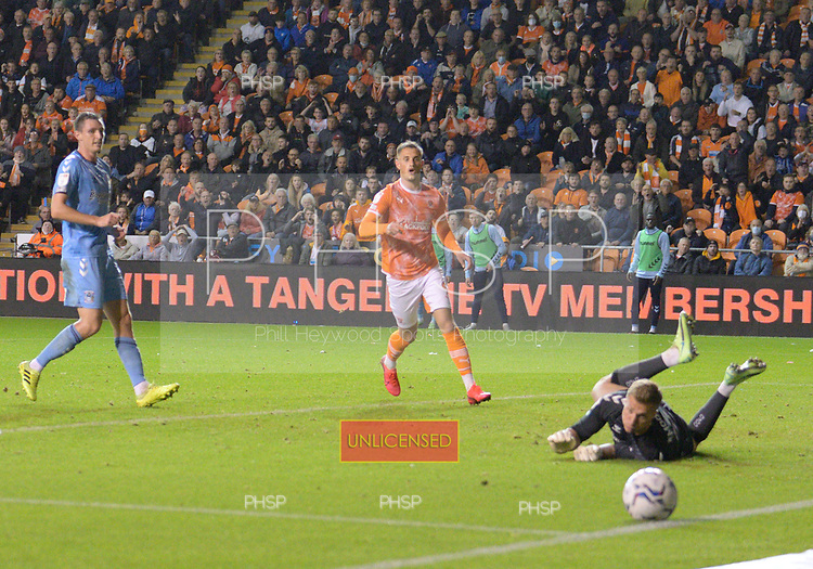 17/08/2021 Sky Bet Championship Blackpool v Coventry  <br /> <br /> Simon Moore saves from Jerry Yates