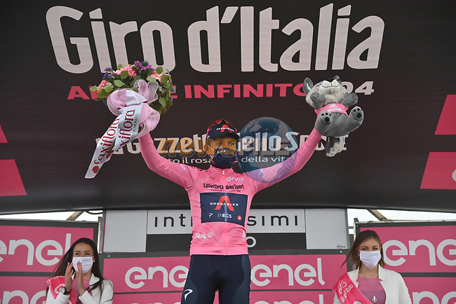 Race leader Egan Bernal (COL) Ineos Grenadiers retains the Maglia Rosa at the end of Stage 14 of the 2021 Giro d'Italia, running 205km from Cittadella to Monte Zoncolan, Italy. 22nd May 2021.  <br /> Picture: LaPresse/Gian Mattia D'Alberto   Cyclefile<br /> <br /> All photos usage must carry mandatory copyright credit (© Cyclefile   LaPresse/Gian Mattia D'Alberto)