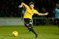 Mickey Demetriou of Newport County scores his sides second goal of the match from a penalty during the Sky Bet League Two match between Newport County and Crawley Town at Rodney Parade, Newport, Wales, UK. 19 January 2018
