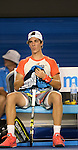 Thanasi Kokkinakis (AUS) loses to Rafael Nadal (ESP) 6-2, 6-4, 6-2 at the Australian Open in Melbourne Australia on January 16, 2014