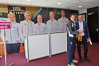 April 16, 2015, Netherlands, Den Bosch, Maaspoort, Fedcup Netherlands-Australia, Paul Haarhuis and Tjerk Bogtstra<br /> Photo: Tennisimages/Henk Koster