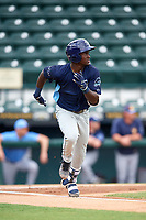 Charlotte Stone Crabs shortstop Lucius Fox (2) runs to first base during a game against the Bradenton Marauders on June 3, 2018 at LECOM Park in Bradenton, Florida.  Charlotte defeated Bradenton 10-1.  (Mike Janes/Four Seam Images)
