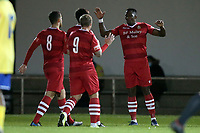 Chris Dickson of Hornchurch scores the second goal for his team and celebrates with his team mates during Hornchurch vs Wingate & Finchley, Pitching In Isthmian League Premier Division Football at Hornchurch Stadium on 6th October 2020