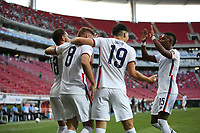 ZAPOPAN, MEXICO - MARCH 21: Hassani Dotson #18 of the United States celebrates his goal with teammates during a game between Dominican Republic and USMNT U-23 at Estadio Akron on March 21, 2021 in Zapopan, Mexico.