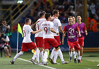 Football: Uefa under 21 Championship 2019, Italy -Poland, Renato Dall'Ara stadium Bologna Italy on June19, 2019.<br /> Poland's Krystian Bielik (c) celebrates after scoring with his teammates during the Uefa under 21 Championship 2019 football match between Italy and Poland at Renato Dall'Ara stadium in Bologna, Italy on June19, 2019.<br /> UPDATE IMAGES PRESS/Isabella Bonotto