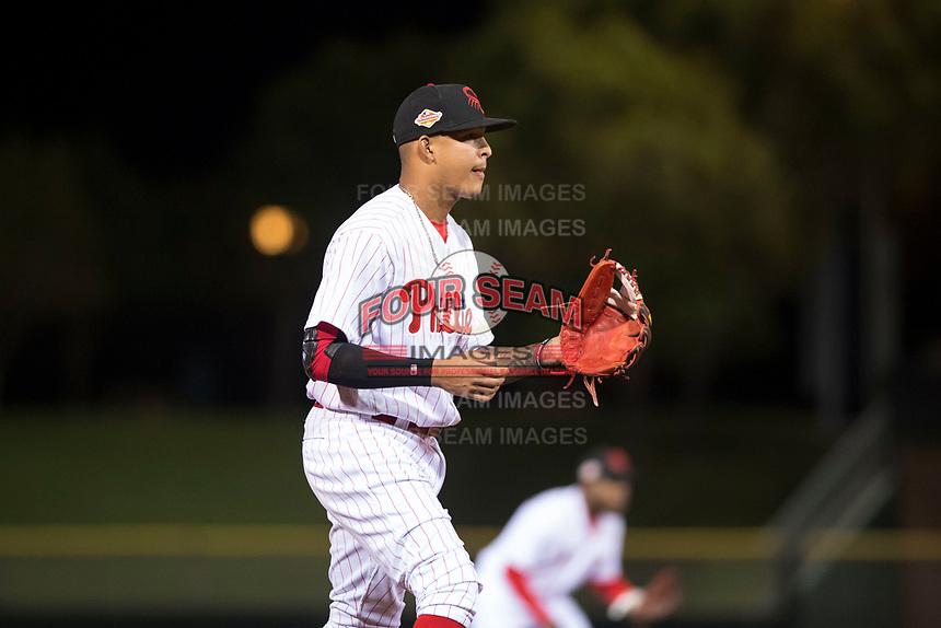 Scottsdale Scorpions third baseman Arquimedes Gamboa (7), of the Philadelphia Phillies organization, during an Arizona Fall League game against the Salt River Rafters at Scottsdale Stadium on October 12, 2018 in Scottsdale, Arizona. Scottsdale defeated Salt River 6-2. (Zachary Lucy/Four Seam Images)