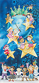 Isabella, CHRISTMAS CHILDREN, naive, paintings, children, stars, tree(ITKE522787,#XK#) Weihnachten, Navidad, illustrations, pinturas