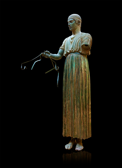 """Charioteer of Delphi"" 470 BC. The ""Charioteer of Delphi"" is one of the best known ancient Greek statues, and one of the best preserved examples of classical bronze casts. It is considered a fine example of the ""Severe"" style. Delphi Archaeological Museum."