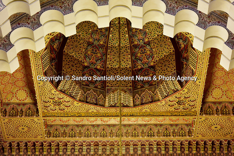 Pictured: Hassan II Mosque  in Casablanca, Morocco<br /> <br /> A series of photographs of ceilings from historic buildings show off kaleidoscopic patterns.  Italian photographer Sandro Santioli captured the mesmerising and intricately decorated interiors of some of Istanbul's grandest places of worship.<br /> <br /> The symmetry of the designs adorning ceilings in Topkapı Palace, Sultan Ahmed Mosque and Hagia Sophia Grand Mosque create kaleidoscopic patterns.  As well as Istanbul, Turkey, Mr Santioli photographed ceilings at the Amber Fortress in Jaipur, India.  SEE OUR COPY FOR DETAILS. <br /> <br /> Please byline: Sandro Santioli/Solent News<br /> <br /> © Sandro Santioli/Solent News & Photo Agency<br /> UK +44 (0) 2380 458800