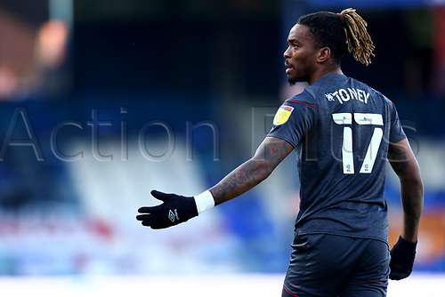31st October 2020; Kenilworth Road, Luton, Bedfordshire, England; English Football League Championship Football, Luton Town versus Brentford; Ivan Toney of Brentford questions the move