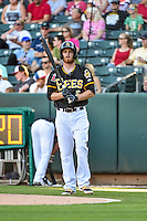 Ryan Jackson (5) of the Salt Lake Bees at bat against the Las Vegas 51s in Pacific Coast League action at Smith's Ballpark on June 25, 2015 in Salt Lake City, Utah. Las Vegas defeated Salt Lake 20-8. (Stephen Smith/Four Seam Images)