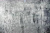 Assyria:  the Siege of Lachish; Hebrew prisoners imploring mercy from King Sennacherib.  Ninevah, Palace of Sennacherib. Photo '85.