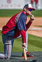 14 March 2014: Washington Nationals Manager Matt Williams watches batting practice prior to a Spring Training game against the Detroit Tigers at Joker Marchant Stadium in Lakeland, Florida. The Tigers defeated the Nationals 12-6 in Grapefruit League play. Mandatory Credit: Ed Wolfstein Photo *** RAW (NEF) Image File Available ***