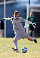 WASHINGTON, DC - NOVEMBER 25, 2012: Ian Christianson (6) of Georgetown University against Syracuse University during an NCAA championship round of sixteen match at North Kehoe field, in Georgetown, Washington DC on November 25.