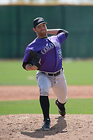 Colorado Rockies relief pitcher Keinter Olivares (62) during a Minor League Spring Training game against the Milwaukee Brewers at Salt River Fields at Talking Stick on March 17, 2018 in Scottsdale, Arizona. (Zachary Lucy/Four Seam Images)