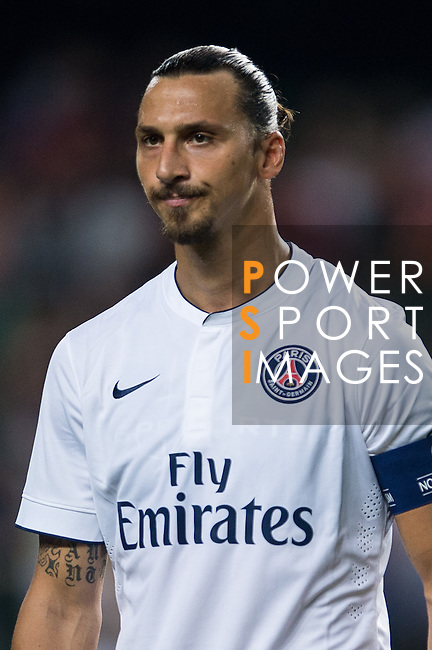 Zlatan Ibrahimovic looks during Kitchee SC vs Paris Saint-Germain during the The Meeting of Champions on July 29, 2014 at the Hong Kong stadium in Hong Kong, China.  Photo by Aitor Alcalde / Power Sport Images