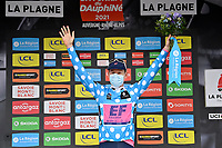 5th June 2021; La Plagne, Tarentaise, France;  CRADDOCK G Lawson (USA) of EF EDUCATION - NIPPO on the podium ceremony in the polka dots jersey after stage 7 of the 73th edition of the 2021 Criterium du Dauphine Libere cycling race, a stage of 171km with start in Saint-Martin-Le-Vinoux and finish in La Plagne