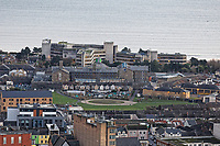 General view of the Civic Centre, Swansea Prison and the site of the old Vetch Field in Swansea, Wales, UK. Wednesday 30 January 2019